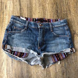 Joe's Patterned Lining distressed Jean Shorts